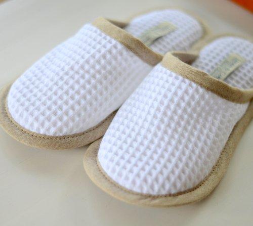 Linen & Cotton Damen Herren Hausschuhe, Pantoffeln Weiss - 100% Baumwolle, Hergestellt in der EU