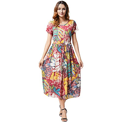 TUSANG Women Skirts Ladies Print Summer Bohemian Short Sleeve Dress Loose Fit Comfy Dress(A-Orange,US-10/CN-XL)