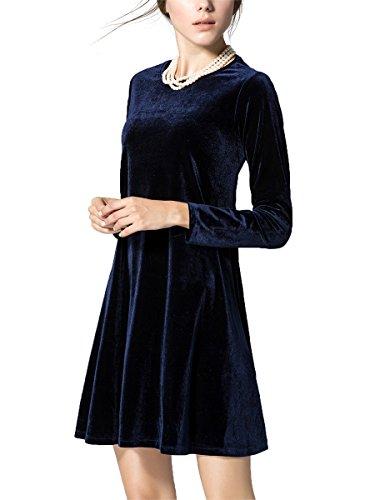 blue velvet dress long sleeve - 6