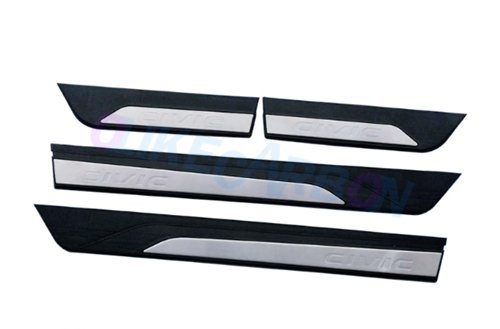 Door Sill Trim Plates (For Honda Civic 2016-2017 New 10TH Sedan Fashion Style Car Door Sill Scuff Plate Guard Sills Protector Trim)