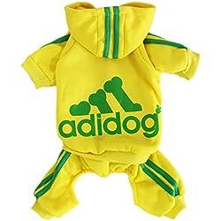 Scheppend Adidog Pet Clothes for Dog Cat Puppy Hoodies Coat Winter Sweatshirt Warm Sweater,Yellow 3XL