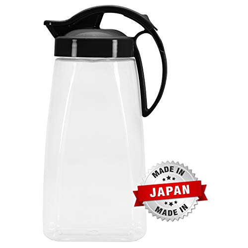 QuickPour Airtight Pitcher with Locking Spout Japanese Made - For Water, Coffee, Tea, Other Beverages - 2.3 Quarts - Clear with Black Top by Pratico Kitchen