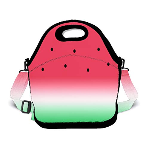 OKAYDECOR Neoprene Lunch Tote - Funny Watermelon Fruit Waterproof Reusable Lunch Box for Men Women Adults Students Kids Toddler Nurses with Adjustable Shoulder Strap - Best Travel Bag ()