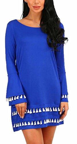 Sleeve Shirt Bell 4 Long Casual Dress Womens Tassel Jaycargogo Swing T PnwTpIqWUB