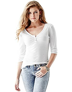 GUESS THREE-QUARTER-SLEEVE METALLIC HENLEY TRUE WHITE S