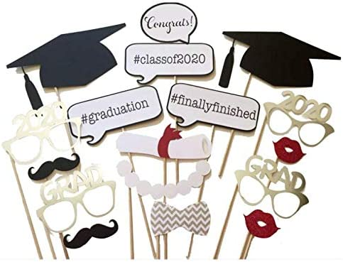Dusenly 17pcs Graduation Photo Booth Props with 1pcs Graduation Photo Frame Props Picture Frame for 2020 Graduation Party Supplies