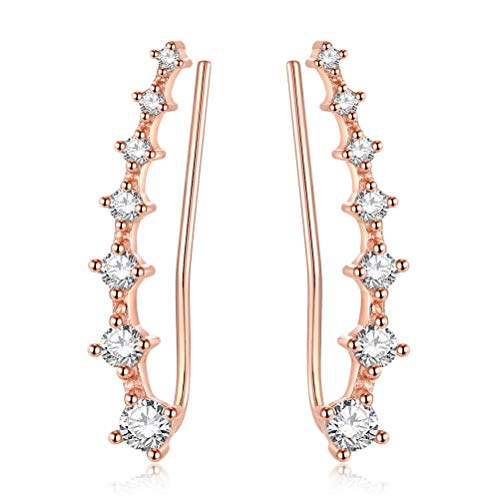 YAN & LEI Sterling Silver Sweep up Ear Pin Crawler Cuff Wrap Climber Earrings with 7 CZ Stones Color Rose Golden