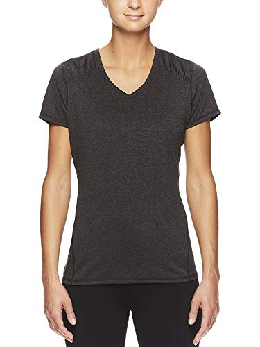 HEAD Women's Brianna Shirred Short Sleeve Workout T-Shirt - Marled Performance Crew Neck Activewear Top - Brianna Charcoal Heather, X-Small by HEAD (Image #1)