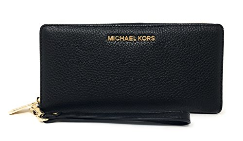 Michael Kors Jet Set Travel Continental Zip Around Leather Wallet Wristlet (Black) by Michael Kors