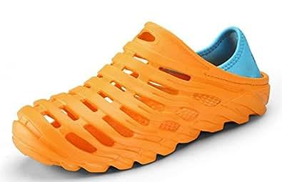 clapzovr Men Garden Clogs Beach Water Sandal Lightweight Shoes Slippers Orange Size: 7.5
