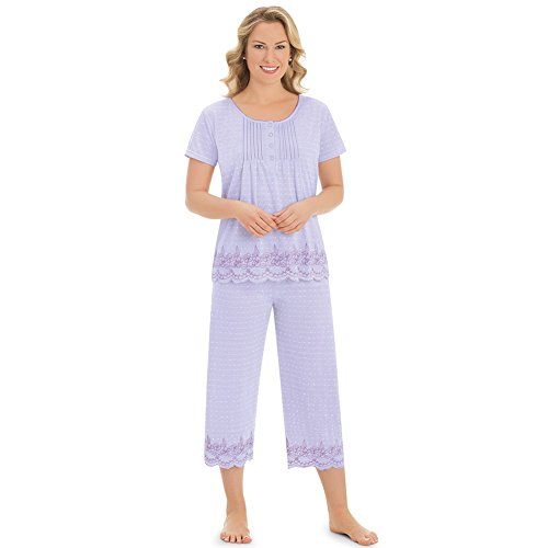 Women's Embroidered Border Pajama Set, Lilac, ()
