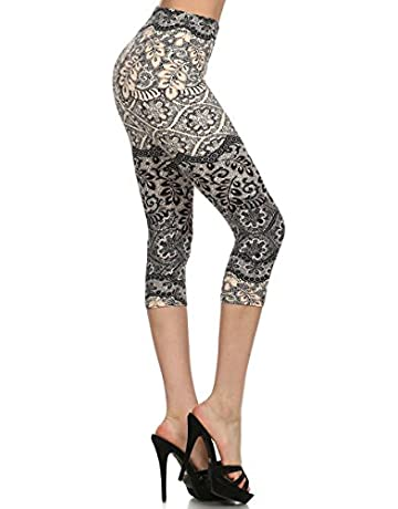 6533490d92ad31 Leggings Depot Women's Plus Size High Waisted Capri Print Leggings
