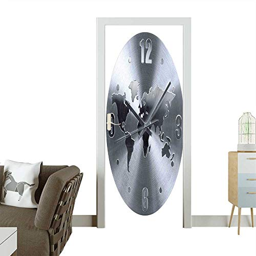 (Waterproof Decoration Door DecalsA Silver Clock Pattern with a World Map Checking The Time Hour and Perfect ornamentW38.5 x H77 INCH)