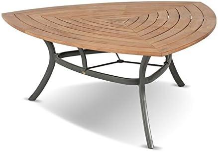 Hartman Mesa de Comedor Triangular, xerix, de Aluminio y Teca FSC, 170 x 170 x 170 cm, Mesa de jardín, Mesa Moderna