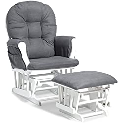 Storkcraft Custom Hoop Glider and Ottoman, White/Grey