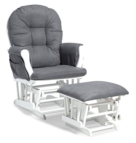 Storkcraft Premium Hoop Glider and Ottoman (White Base, Gray Cushion) - Padded Cushions with Storage Pocket, Smooth Rocking Motion, Easy to Assemble, Solid Hardwood Base