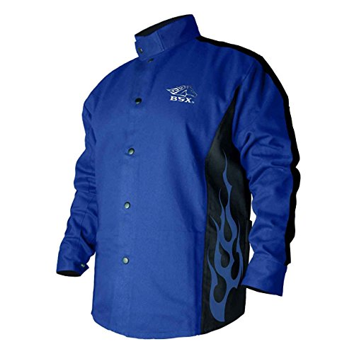 BSX Flame-Resistant Welding Jacket - Blue with Blue Flames, Size Medium (Blue Flame Stuff)