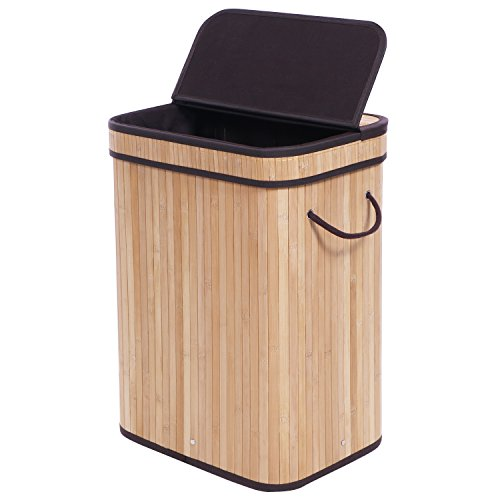 BEWISHOME Bamboo Laundry Hamper Clothes Basket Bin Foldable w/Lid Handles and Removable Liner, Natural YYL02Y
