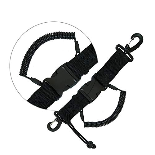 Tradtrust Stainless Steel Scuba Diving Lanyard Steel Spring Coiled Lanyard with Quick Release Buckle for Cameras and Dive Lights