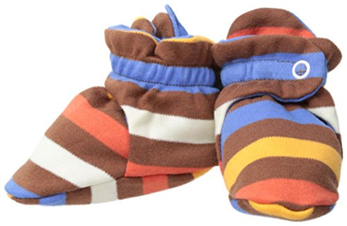 Zutano Baby Boys 5 Color Stripe Booties, Chocolate/Periwinkle, 12 Months
