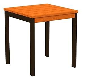 """18""""reciclado Earth-friendly cuadrado mesa auxiliar–color naranja con marco negro"""
