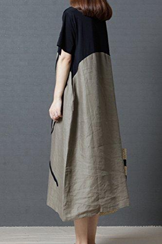 Les Longue Coton Yacun Beige Ronde Encolure en Courte Manche De Robe Femmes CdqdpaU