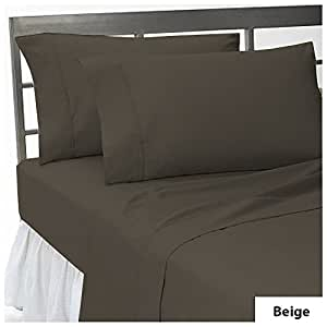 19 inches Deep Pocket Six {6} PC Bedding Sheet Set Solid Pattern 100% Egyptian Cotton 550 Thread Count ( Twin XL , Beige ).