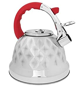 Red Whistling Tea Kettle Pot - Aviation Grade Stainless Steel For All Stovetops With Layered Capsule Bottom For Faster Water Boiling When Preparing English Tea or Coffee, 3.2 Liters