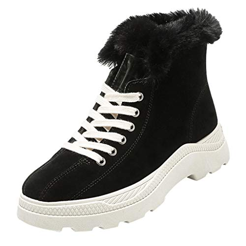 Midress Women Girls Winter High-Top Sneakers Fashion Ankle Boots Fur Lined Casual Sport Shoes Lace-Up Chunky Bottom Boots