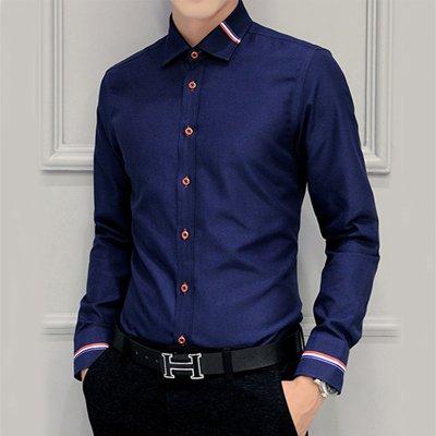 Dearilin Stylish New Men Dress Shirts Clothing Fashion Camisa Social Casual Men Shirt Slim Fit Long-Sleeve Camisa Masculina MC274 Dark blue Asian size - Adelaide Asian Girls