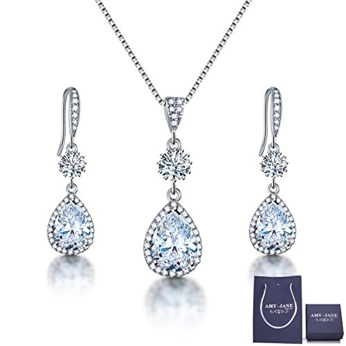 Bridesmaid Jewelry Set (AMYJANE Bridal Jewelry Set for Wedding - Teardrop Silver Cubic Zirconia Crystal Drop Earrings and Necklace Jewelry Set)