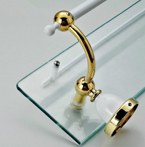 TACCY Single Bathroom Glass Shelf with Two White+Gold Finish Brackets Brass made Toughened Safety Mounted Glass shelf #MK03A