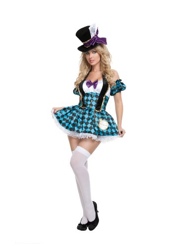 Starline Sexy Women's Mad Hatter Costume Set , Blue/Black, X-Large (Sexy Mad Hatter Costumes)