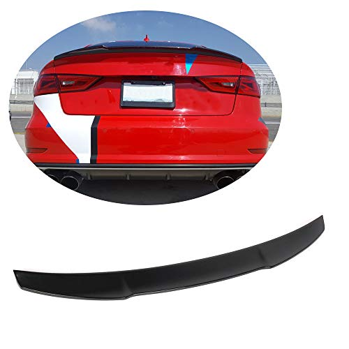 MCARCAR KIT Trunk Spoiler fits Audi A3 8V Base Sline S3 Sedan 2014-2018 Sedan Rear Boot Lid Highkick Spoiler Wing Lip (Gloss Black Fiberglass FRP)