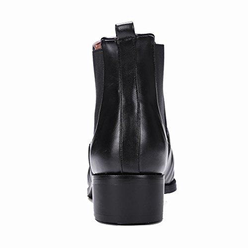 Carolbar Femme Boucle Neutre Mode Automne Confort Talon Bas Bottes Courtes Noir
