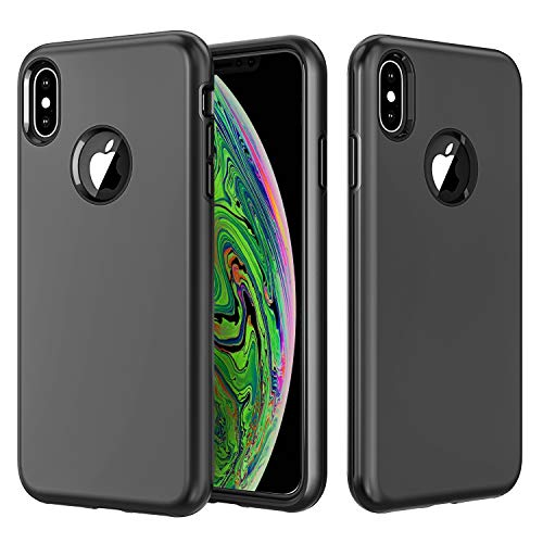 Vproof iPhone Xs Max Case, Heavy Duty Shock Absorption Protective Case, Soft Interior TPU Bumper Cover + Durable Hard Shell PC Back Hybrid Slim Case for Apple iPhone Xs Max 6.5 Inch 2018(Black)