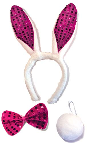 Bunny Rabbit Costume Kit for Kids Adult - Halloween, Easter, Dress Up, Cosplay Accessories Set (Hot Pink Sequin & White) -