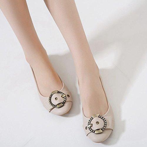 Giy Womens Fashion Balett Dagdrivare Lägenheter Halka På Spänne Rund Tå Klänning Loafers Tillfälliga Oxfords Skor Beige
