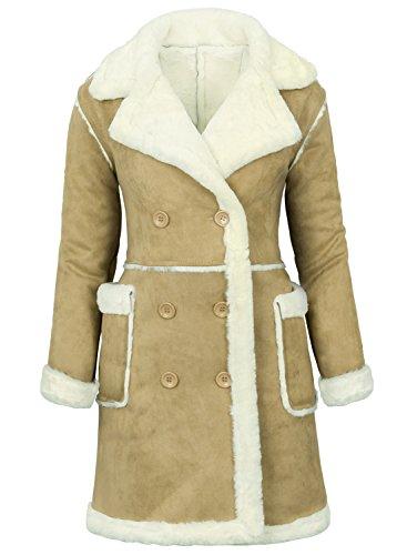 - ililily Women Suede Winter Coat Full Faux Fur Lined Double Breasted Long Jacket, Butter Beige