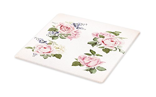 Lunarable Vintage Cutting Board, Vintage Country Style Floral Roses Wreath Bouquet and Corsage Wildflowers Design, Decorative Tempered Glass Cutting and Serving Board, Small Size, Pastel Pink ()