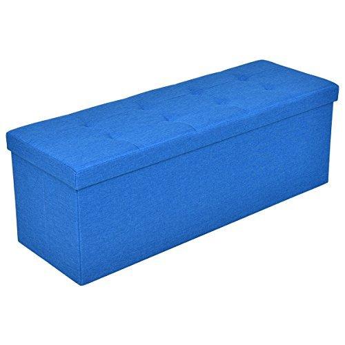 Folding Ottoman Bench Storage Stool Box Footrest Furniture Decor Blue 43 Inch by Caraya