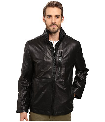 Marc New York by Andrew Marc Men's Salem Leather Jacket w/Removable Quilted Bib Black ()