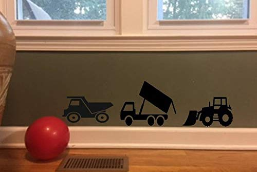 CELYCASY Gifts for Boys, Truck Decals, Wall Decals, Dump Truck, Fire Truck, Black Vinyl Decal, Boys Room Decor, Home Decor #256