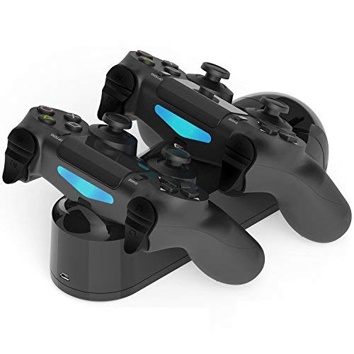 PS4 Controller Charger, Dual USB PS4 Controller Charging Station for Sony Playstation 4/PS4/PS4 Slim/PS4 Pro Charging Dock Stand Station with 4 Thumb Grips