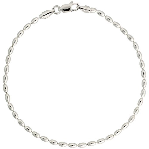 Sterling Silver Oval Pallini Bead Ball Chain Bracelet 2.5mm Nickel Free Italy, 7 inch (Silver Tag Bracelet Sterling Oval)