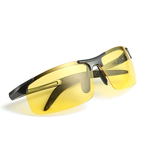 de47c7e451c5 Mens HD Night View Vision POLARIZED Glasses for Driving Yellow Lens  Anti-glare Sunglasses (