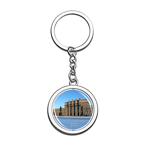 Russia Keychain Kubychev Square Samara Key Chain 3D Crystal Spinning Round Stainless Steel Keychains Travel City Souvenirs Key Chain Ring
