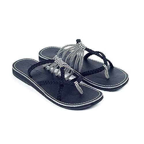 Romanos de Moda de Mujer de Tejido Zapatos Tejida Playa Antideslizantes Negro de Sandalias Cruzado Verano Sandalias Chanclas Zapatillas de ZavItwxw