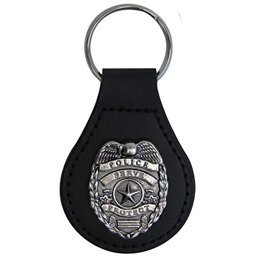 Silver Police Badge Leather Car Keyfob Truck Key Ring Chain Fob