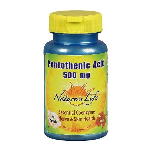 Nature Vie Comprimés Acide pantothénique, 500 mg, 50 Count (Pack de 2)